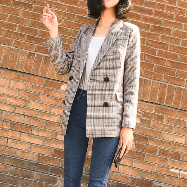 売れ筋☆おすすめ☆ コート ピーコート ジャケット トレンド 格子柄 チェック ボリューム襟