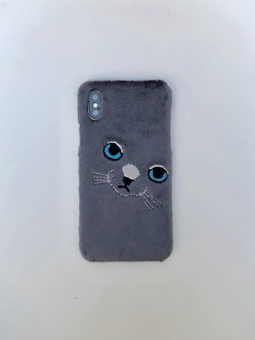 【iPhoneX専用】ビッグフェイスネコケース【グレー】