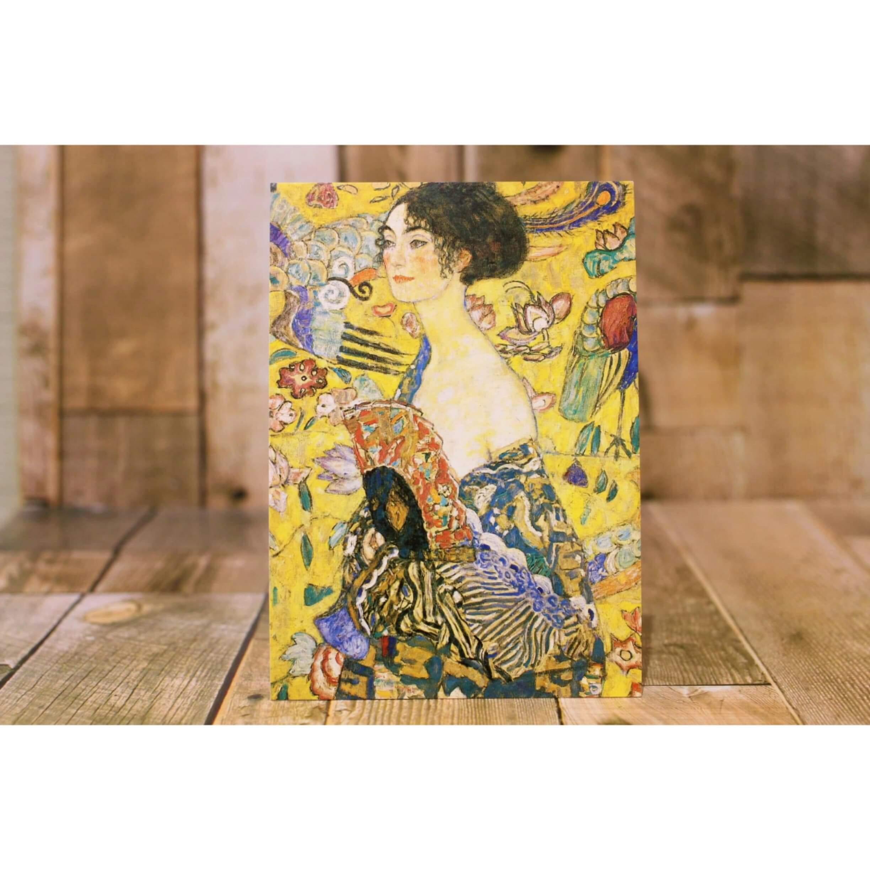 クリムト Woman with Fan メッセージカード/ポストカード 浜松雑貨屋 C0pernicus