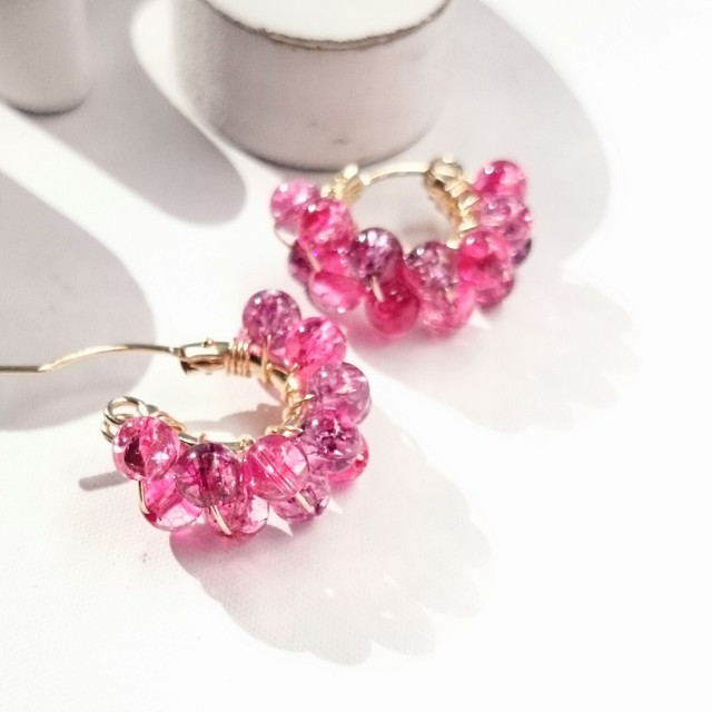 送料無料 14kgf♡Spring Jerry multicolored quartz pierce/earring