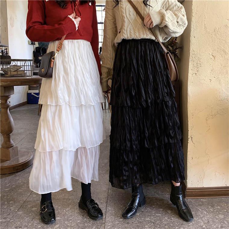 【送料無料 】おしゃれな しわ加工 ♡ 大人可愛い ガーリー カジュアル ティアード ロング チュール スカート ボトム