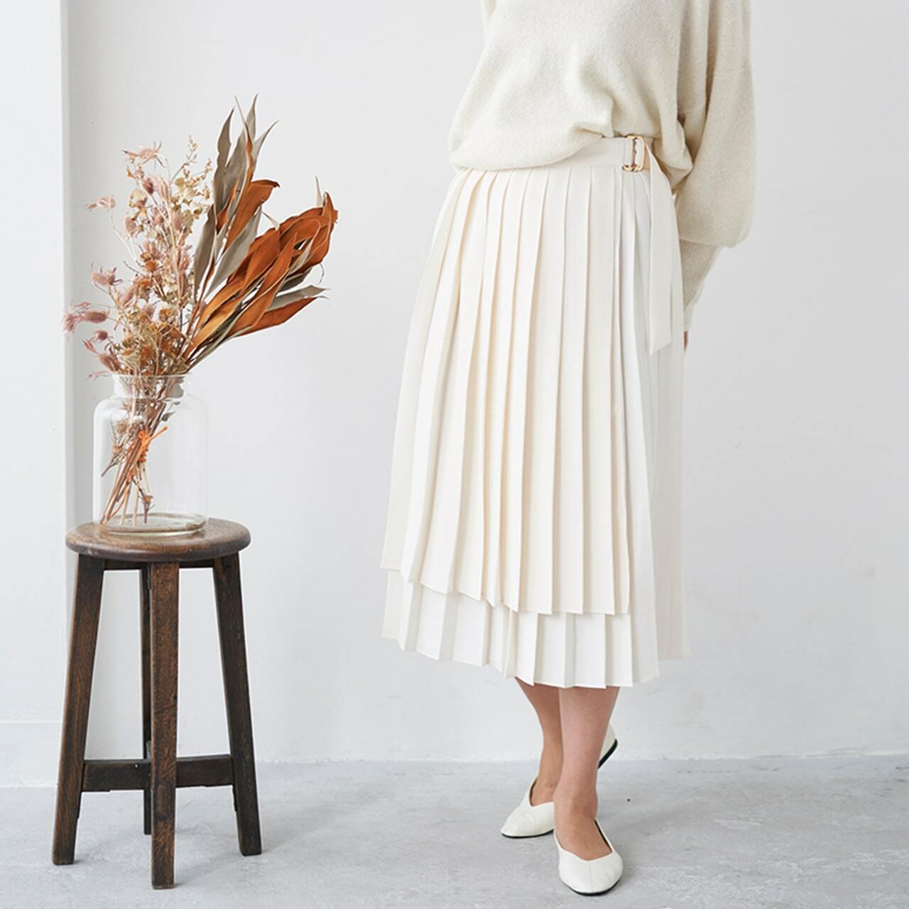 ミモレ丈 ラッププリーツスカート