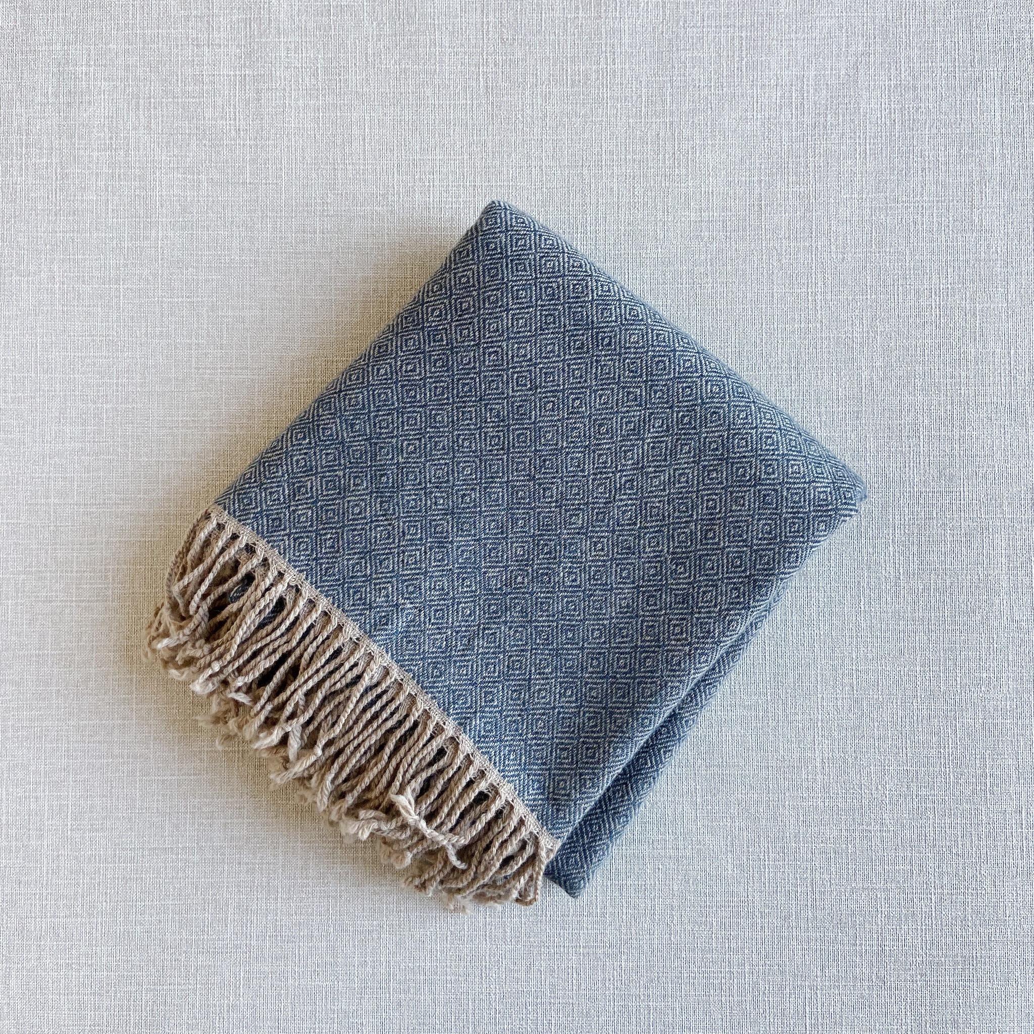 手織りカシミヤラムウールショール(ブルーバーズアイ Blue bird's-eye)