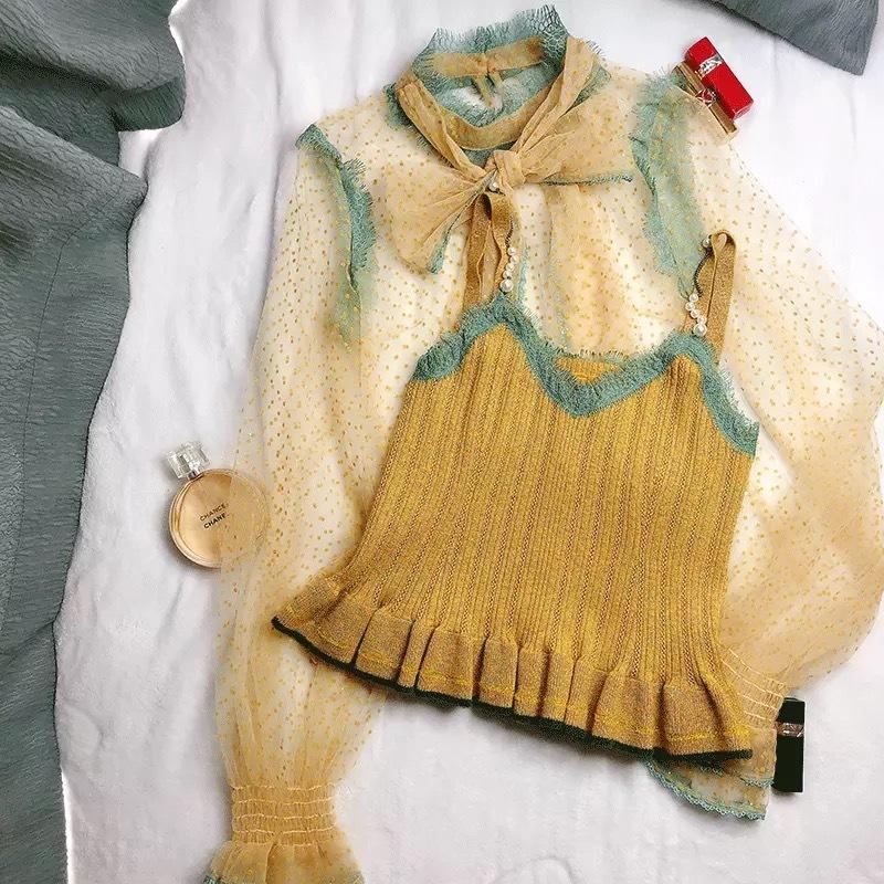 dot yellow blouse 2peace