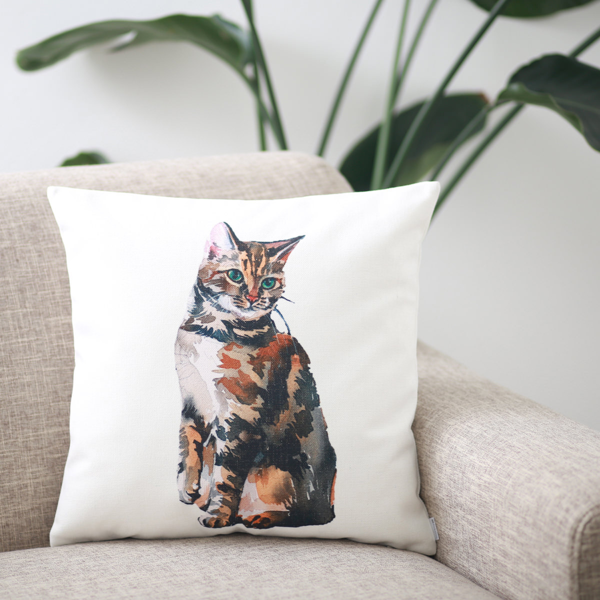 クッションカバー BROWN MIX CAT