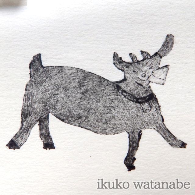 版画カード - ヤギ(手紙) - わたなべいくこ - no6-wat-02