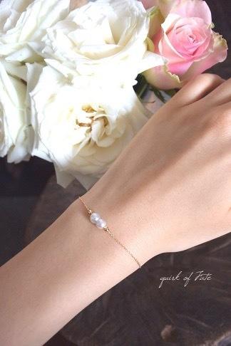 K18 yg Twins Akoya Pearl Bracelet 18金双子アコヤ真珠がブレスレット