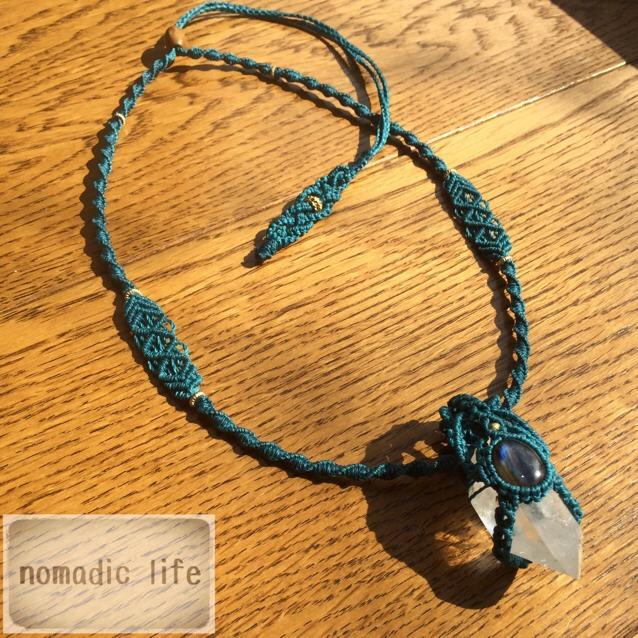 No.15//Crystal-Labradorite macrame necklace/クリスタル-ラブラドライト マクラメネックレス