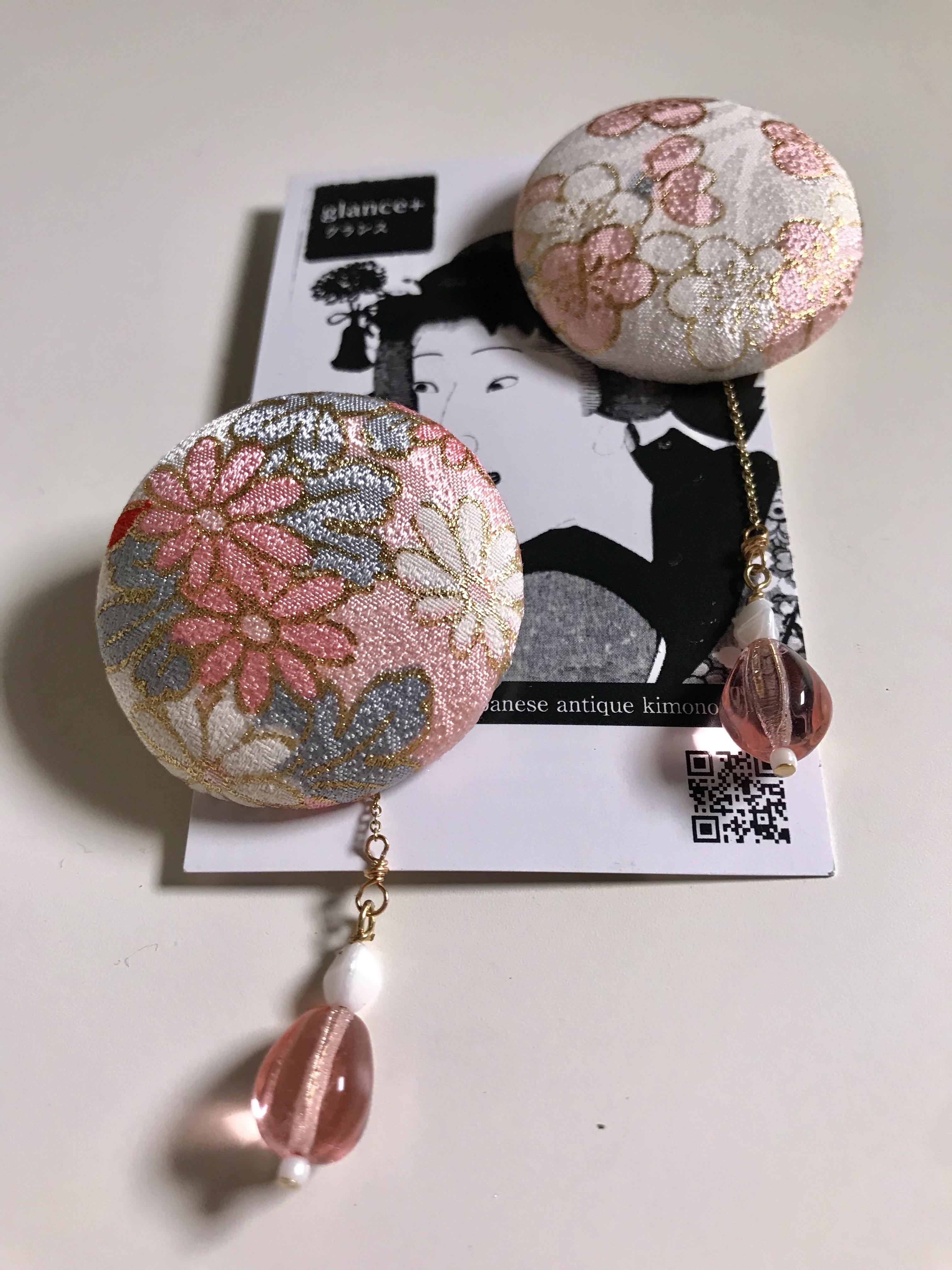 glance + 着物ピアス(アンティーク女児着物・小花/ピンク)−8