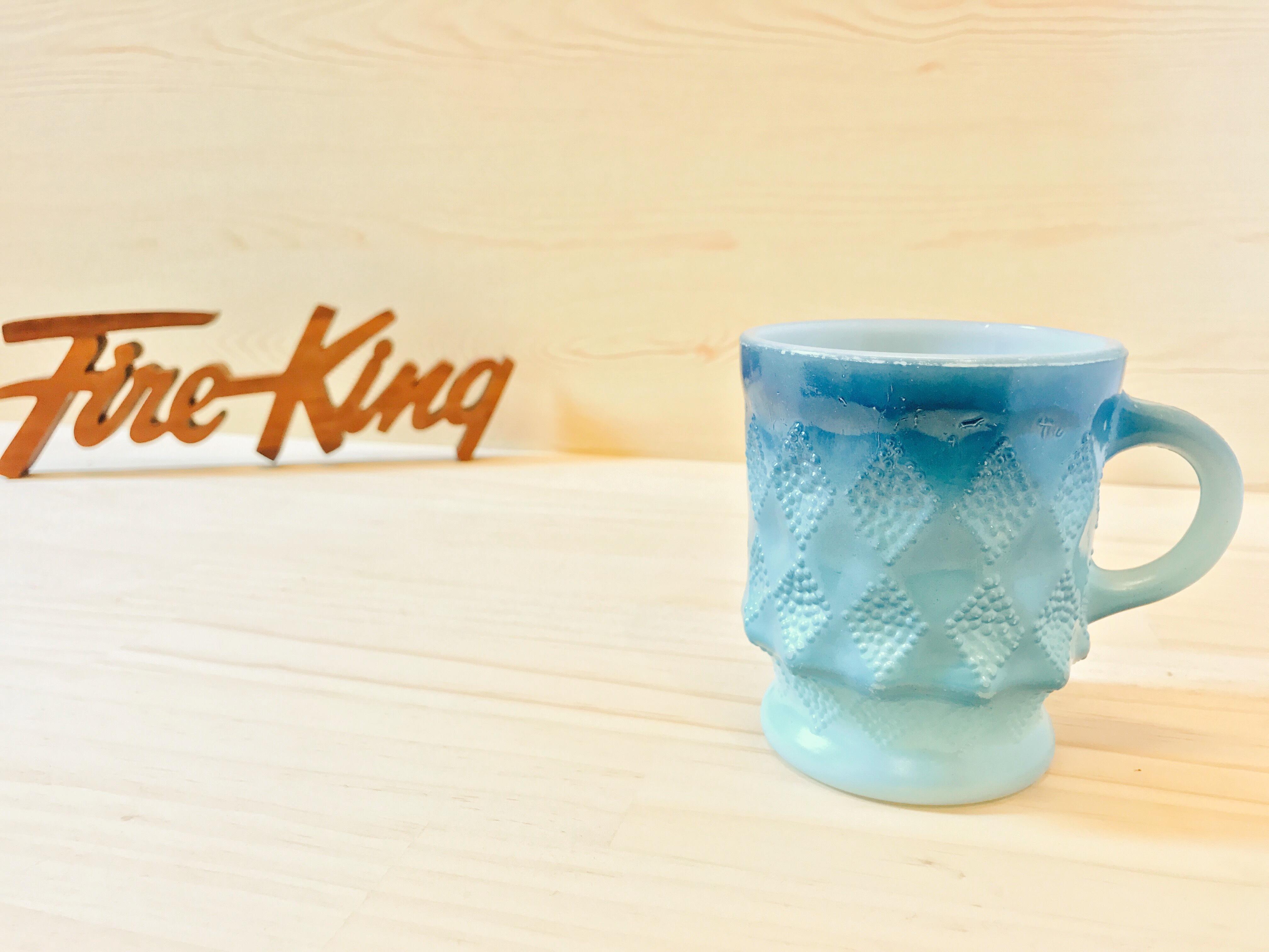 """[Fire King] ダイヤモンドマグ """"キンバリー"""" ブルー・ターコイズ ミルクガラス (識別No.24001)"""