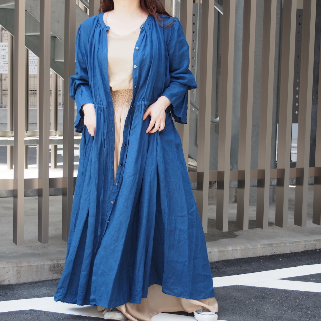 【ethical hippi】sleeve tuck one-piece(navy) / 【エシカル ヒッピ】スリーブ タック ワンピース(ネイビー)