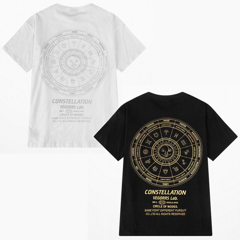ユニセックス 半袖 Tシャツ メンズ レディース 太陽 12星座 バックプリント オーバーサイズ 大きいサイズ ルーズ ストリート