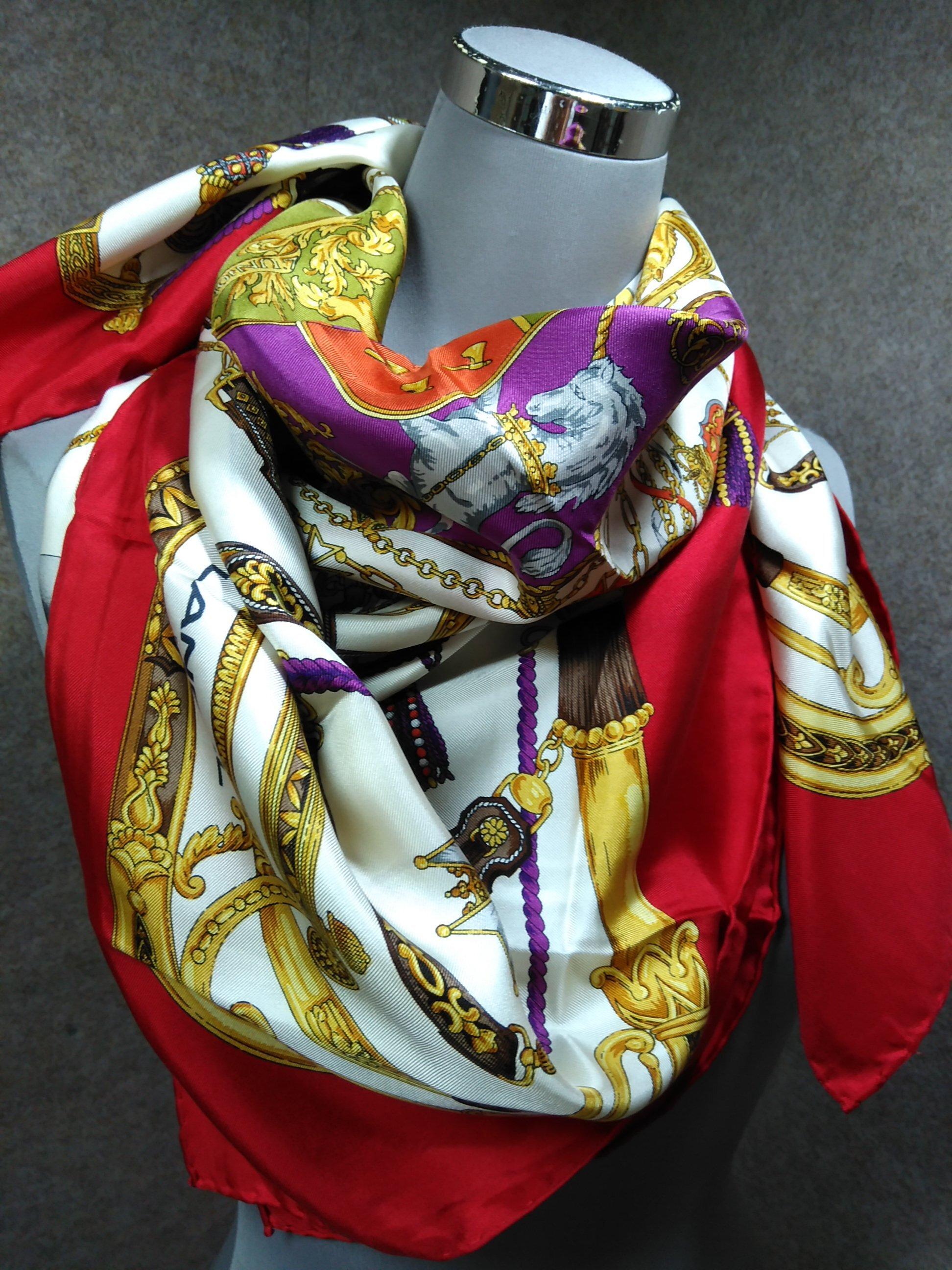 ランセル LANCEL スカーフ シルク 絹 赤系 mu895e