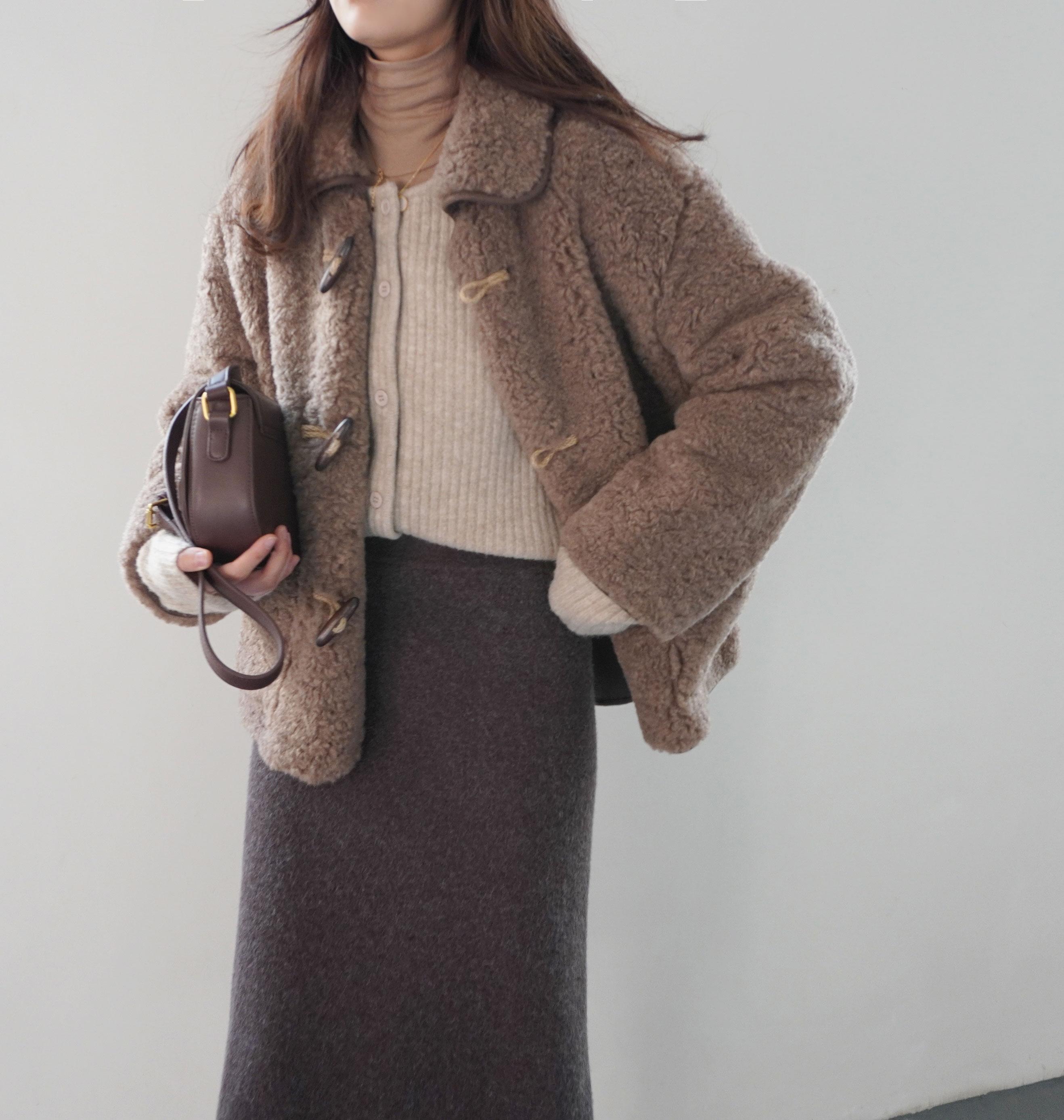 〈カフェシリーズ〉丈が選べる!もこもこガーリーコート(ショート丈)【moko-moko girly coat】