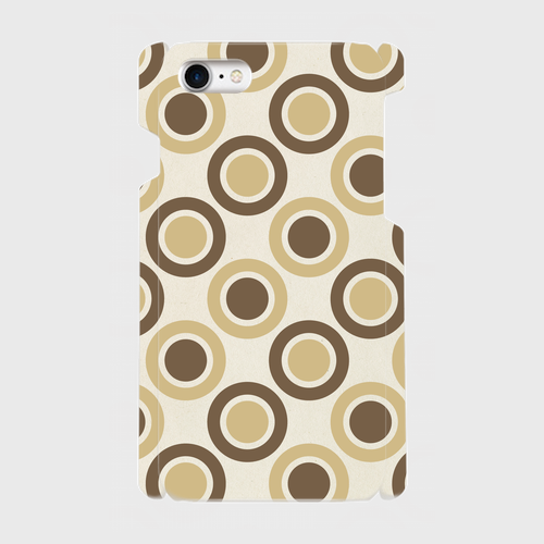 レトロ水玉(薄茶・濃茶)/ iPhoneスマホケース(ハードケース)