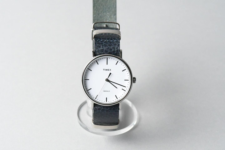 TIMEX腕時計 男女兼用・革のナトータイプベルト ■ネイビー■ _イタリアンレザー「ドラーロ」ナトータイプ腕時計付替えベルト_ - 画像1