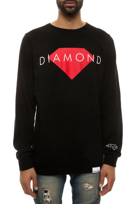 ダイヤモンドサプライ【DIAMOND SUPPLY CO.】ソリッド クルーネック ブラック スウェット トレーナー 長袖