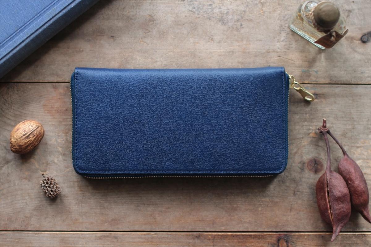 藍染革[shiboai] ×オイルレザー ラウンドファスナー長財布