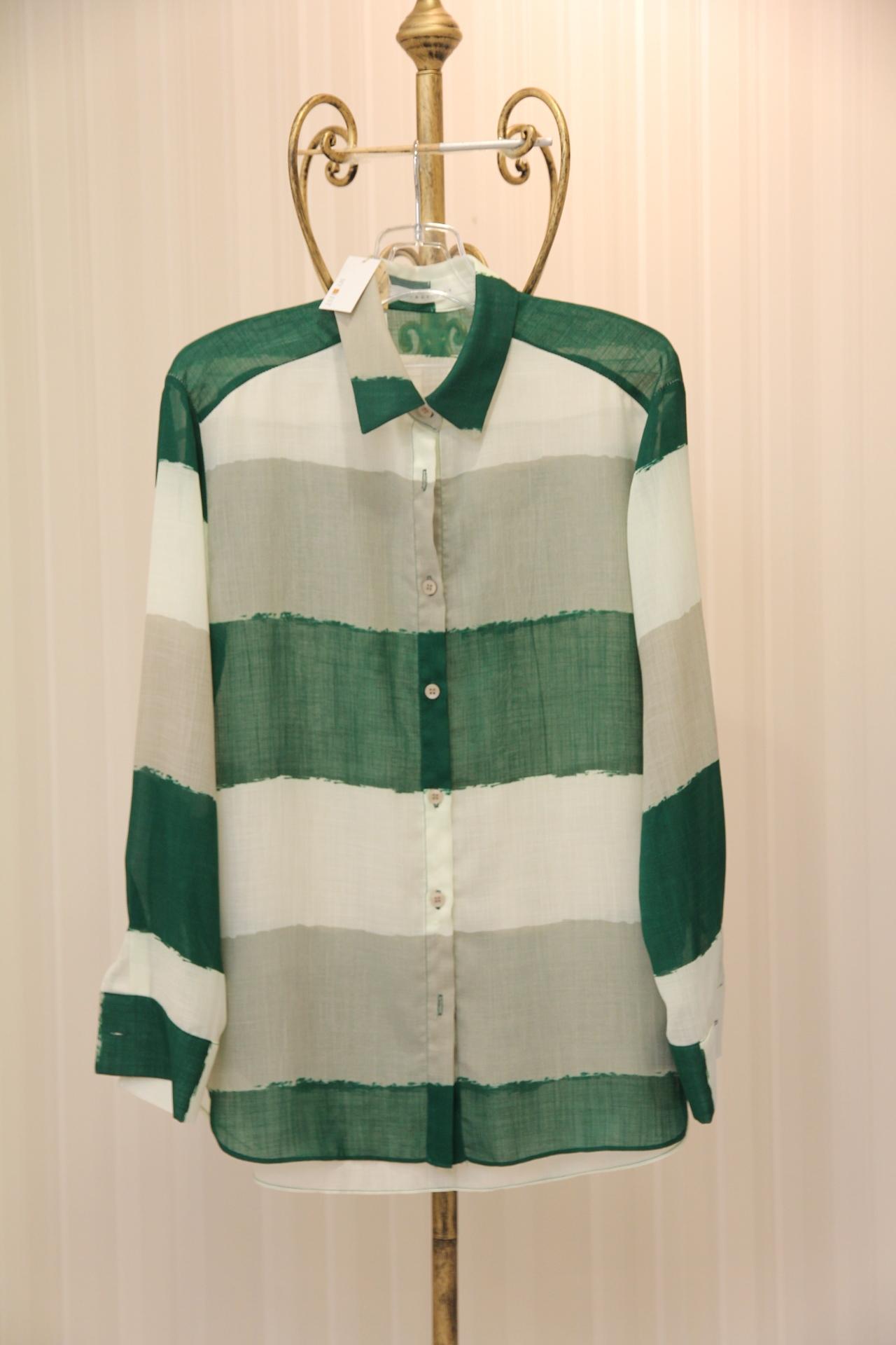 グリーン&ホワイトボーダーシャツ 1-5