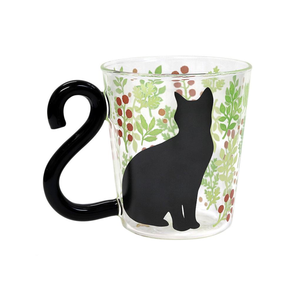 猫マグカップ(ボタニカル)赤い実