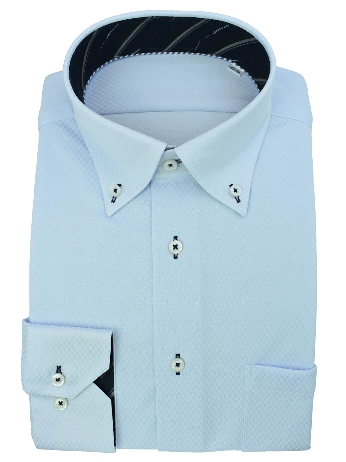 【日本製】伸び~るストレッチシャツ100%ノーアイロン(ライトブルー)