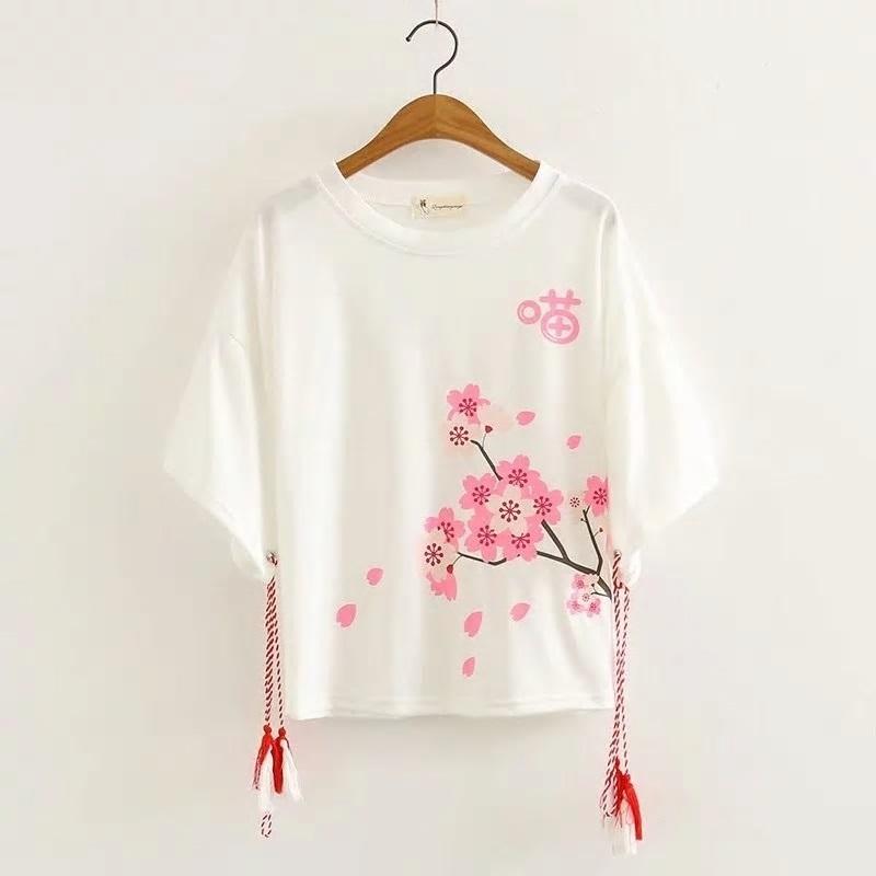 袖紐付き猫桜プリントTシャツ