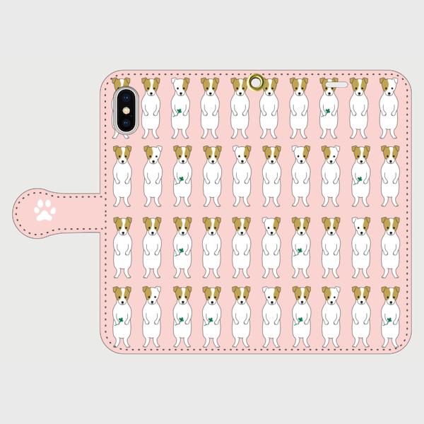 <受注製作>iPhoneサイズ 手帳型 スマホケース ジャックラッセルテリア ピンク