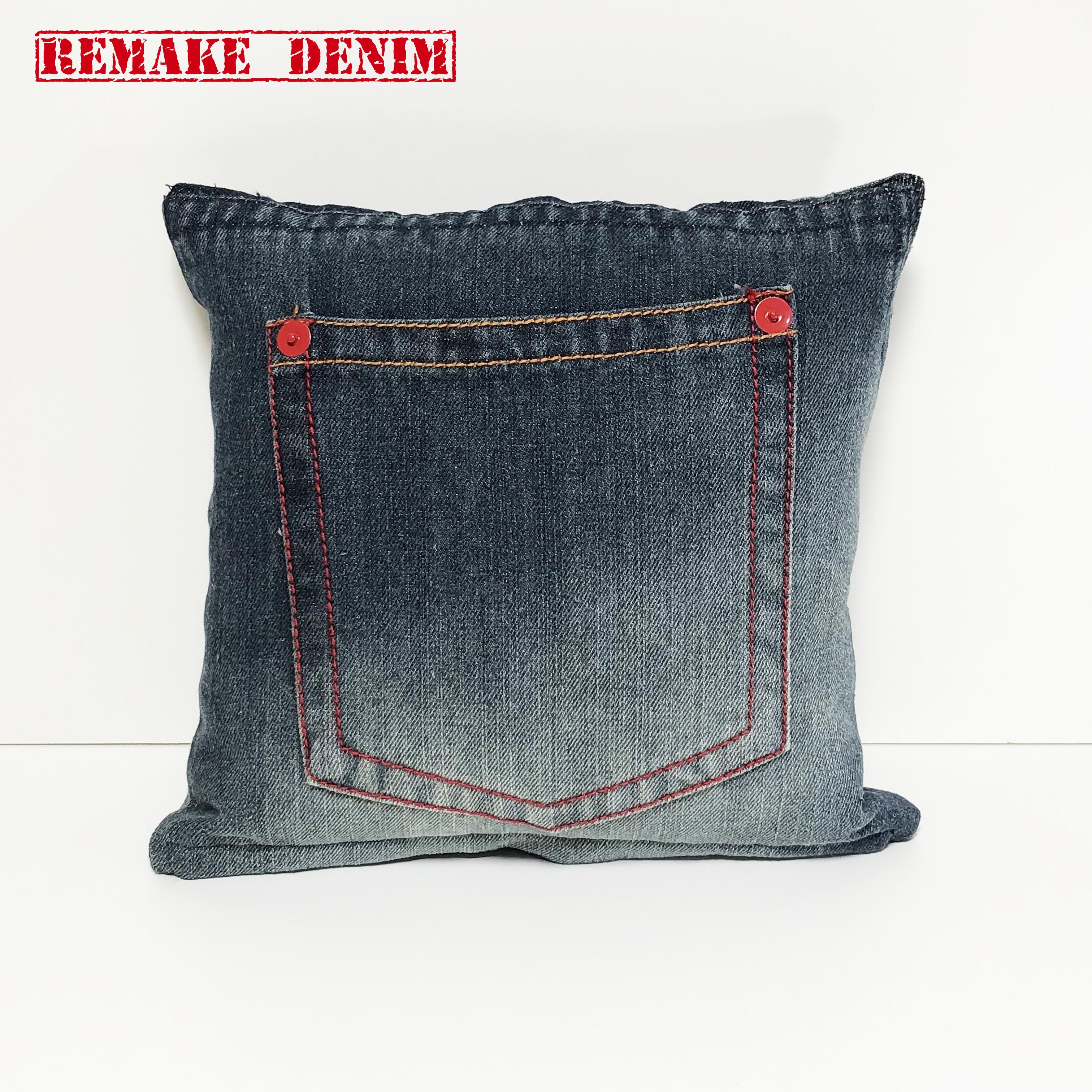 リメイクデニム クッションカバー 30cm 正方形 ジーンズリメイク