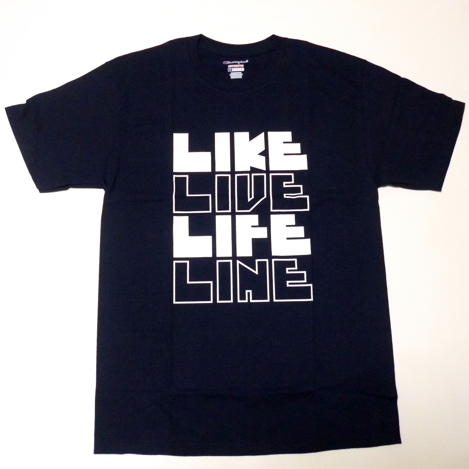チャンピオン Champion USA企画 チャンピオン プリントTシャツ(濃紺・ネイビー)LIKE LIVE LIFE LINE