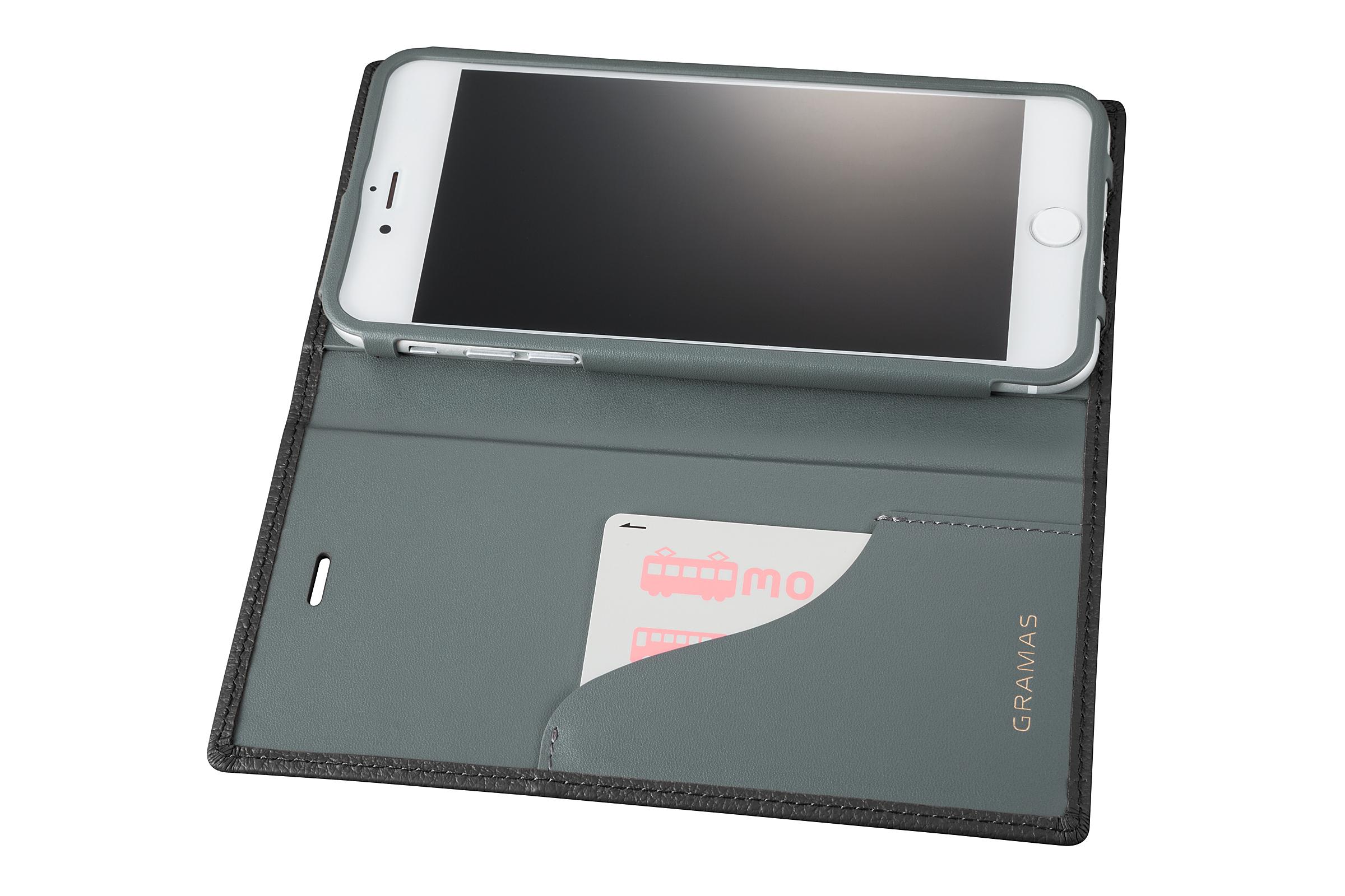 GRAMAS Shrunken-calf Full Leather Case for iPhone 7 Plus(Black) シュランケンカーフ 手帳型フルレザーケース - 画像4