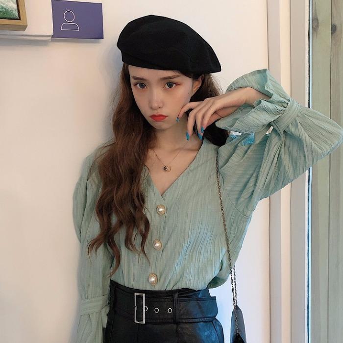 【tops】シングルブレスト無地ファッションシャツ24305604