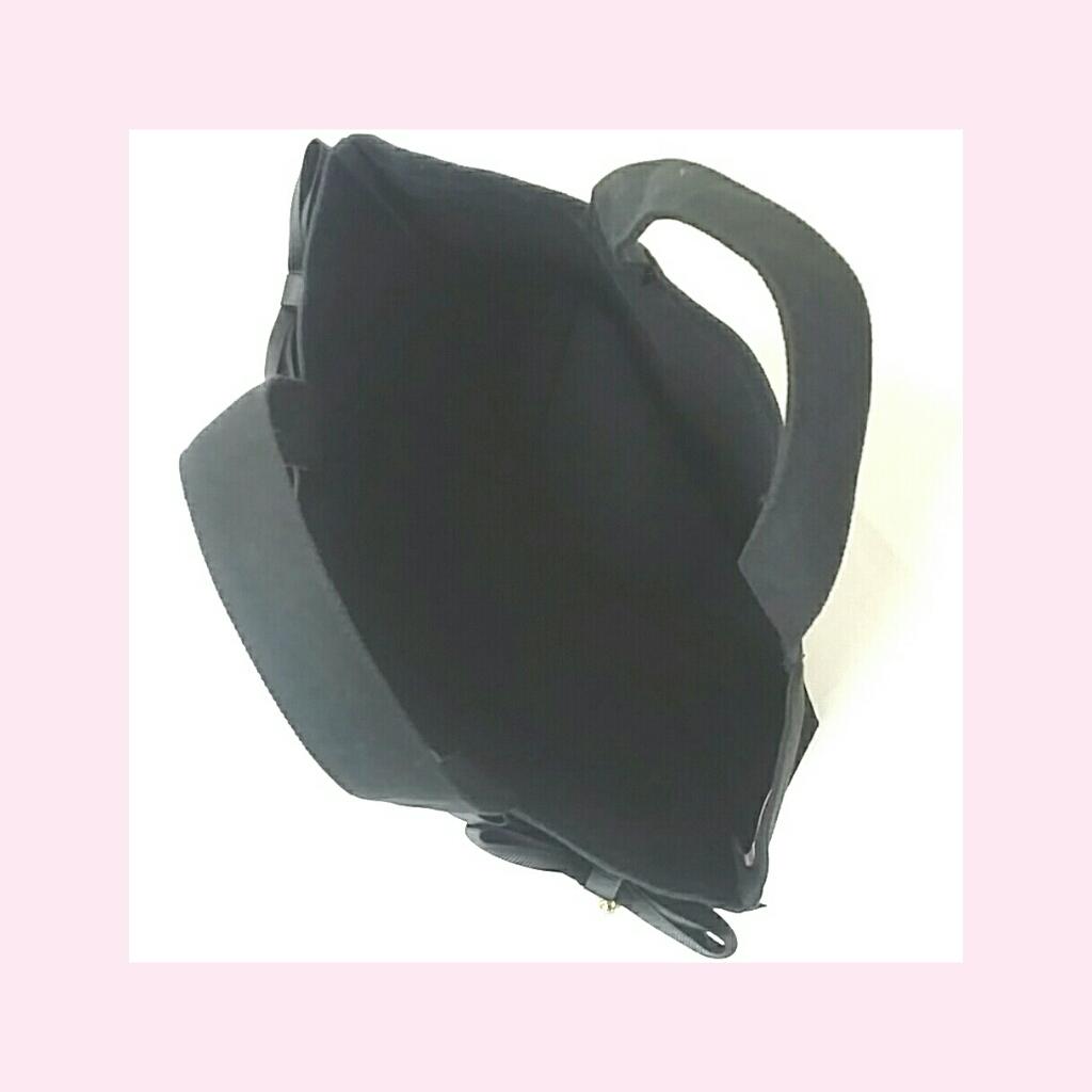【ブラック】Kリボントートバッグ(ボタンあり)[L1]