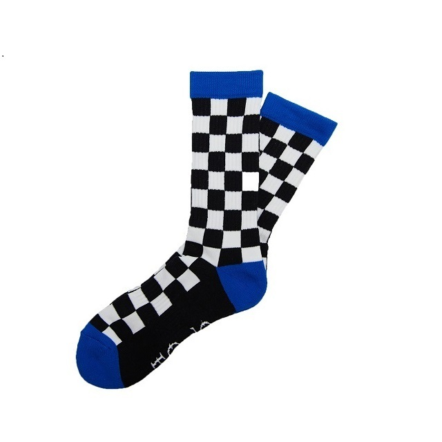 SURF SKATE CAMP #Checker Socks Black