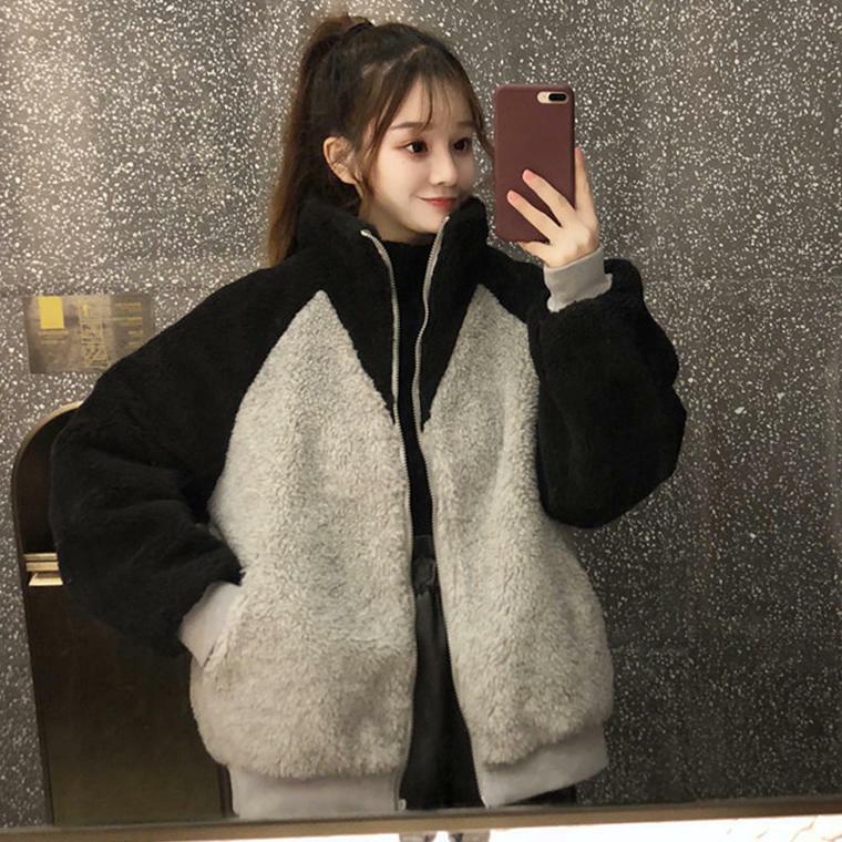 【送料無料】 防寒ばっちり♡ ボア ブルゾン ジャケット コート アウター バイカラー ボーイフレンド オーバーサイズ