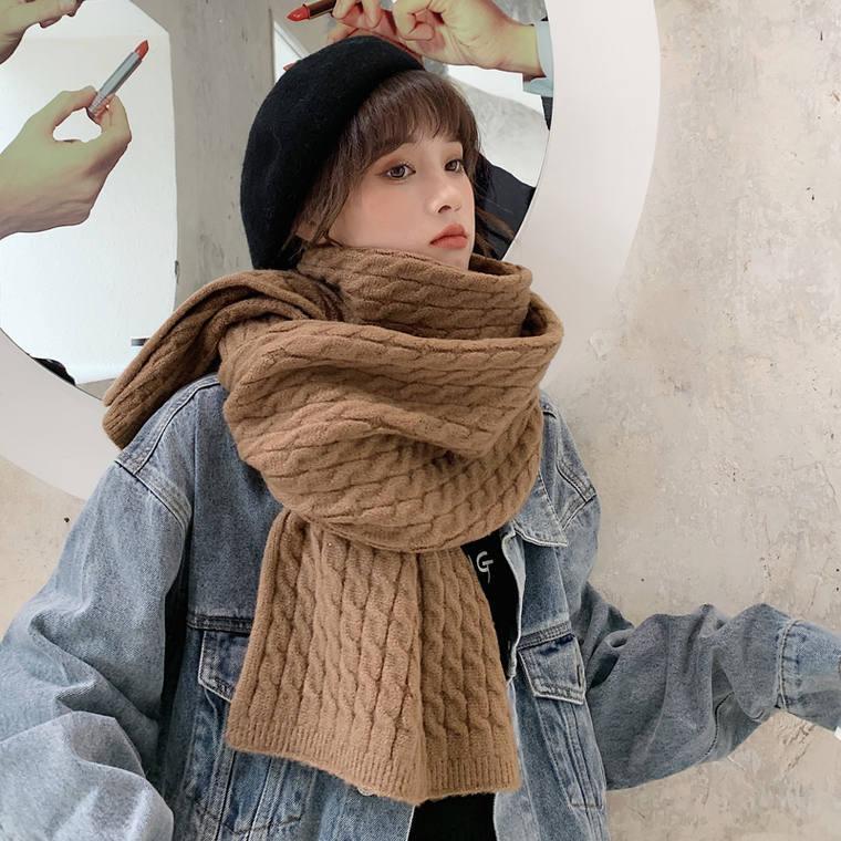【送料無料】10カラー展開 ♡ 大人可愛い カジュアル ボリューム ケーブル編み ニット マフラー ショール