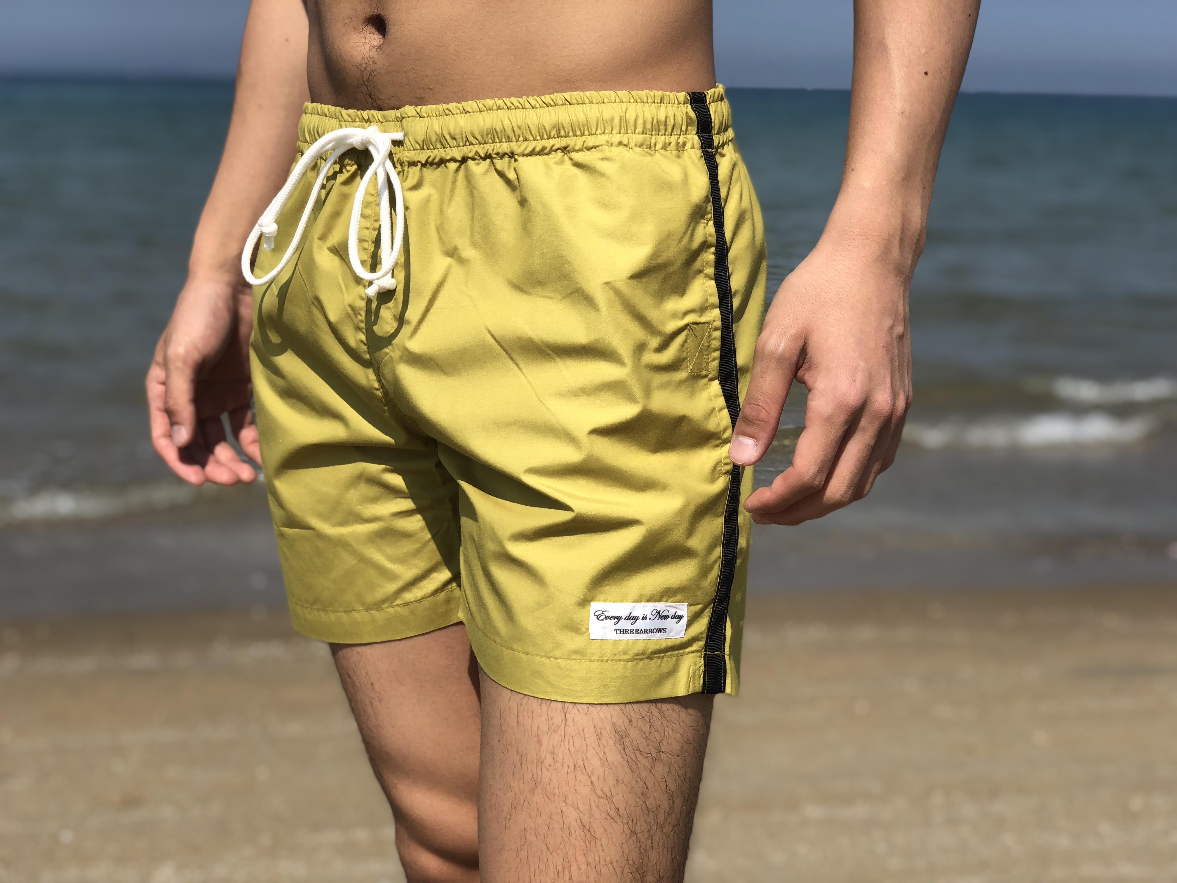 【SUMMER SALE】ThreeArrows sideline Board Shorts(mustard × black)
