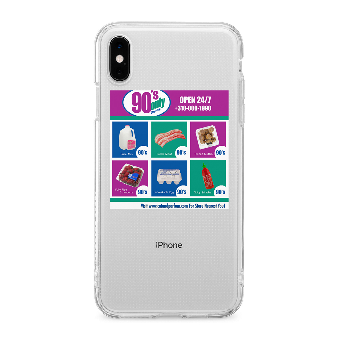 90's Only Store Graphic Clear TPU iPhone Case