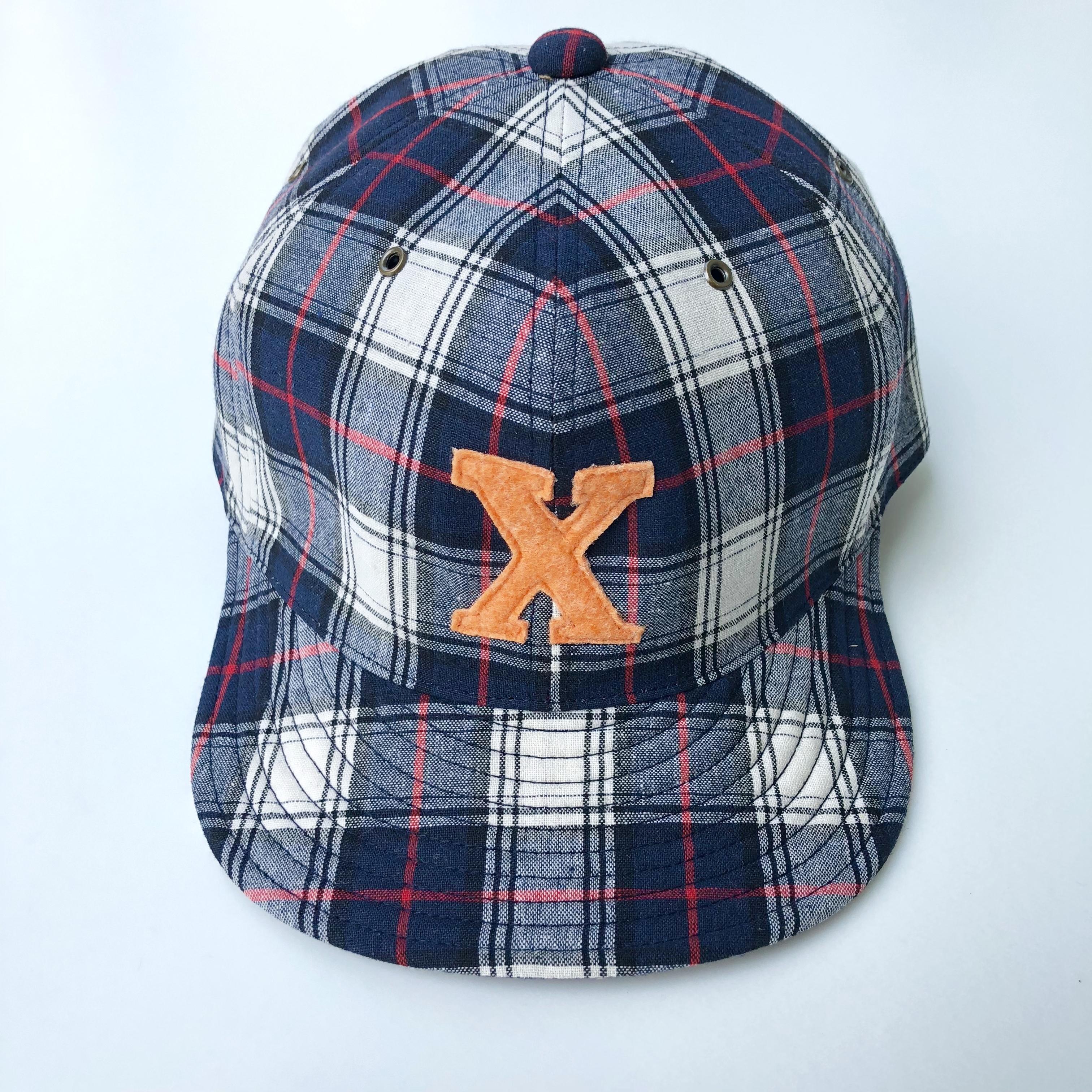 "All handmade ""X""cap NAVY CHECK"