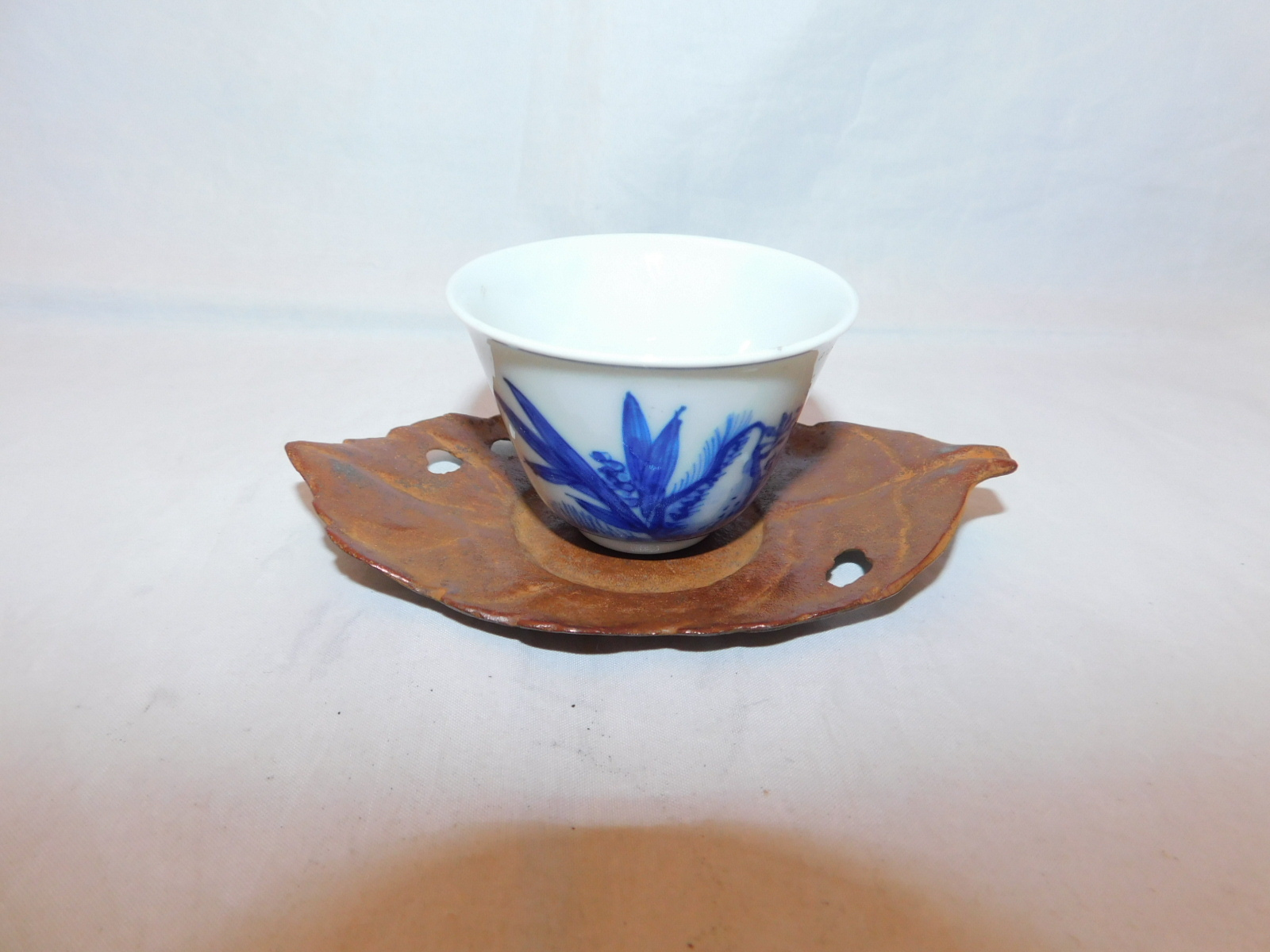 鉄茶色木葉茶托(5客) iron Japanese tea five saucers (No19)