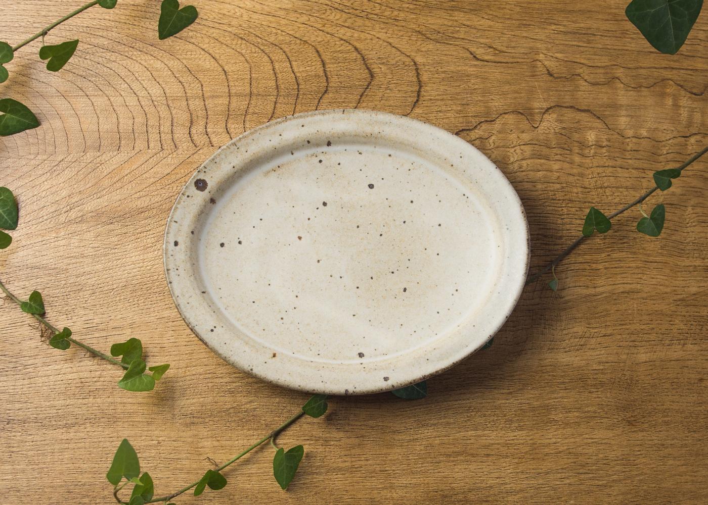 粉引 オーバル中皿 1/くるり窯
