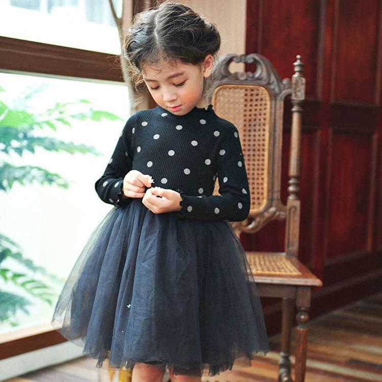 aae5e89e1d4f9  子供服 フォーマル水玉長袖シフォンワンピース キッズドレス 韓国子供服 チュールスカート