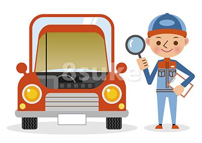 イラスト素材:自動車整備士の点検イメージとボンネットの開いた車(ベクター・JPG)