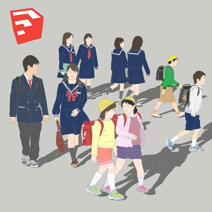 小中学生イラストSketchUp素材 4u_001 - 画像1