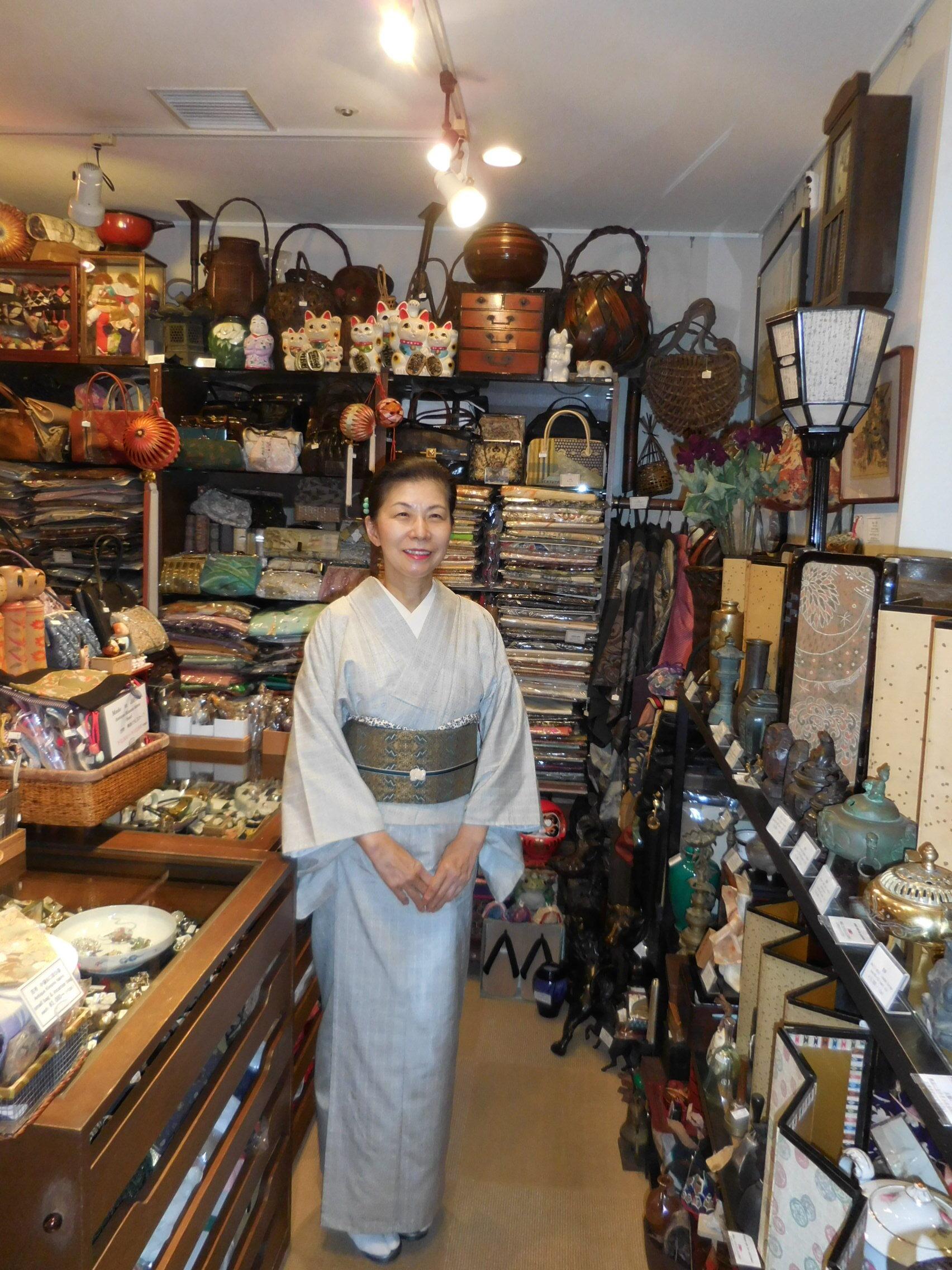 白本場結城紬単衣着物 silk Kimono