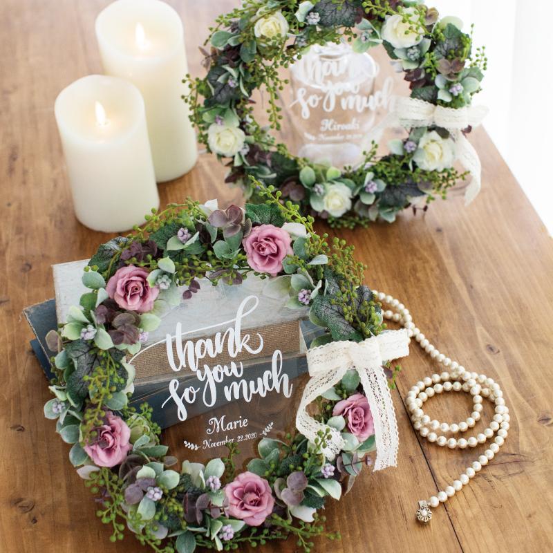 【両親贈呈品】 エターナル 感謝のリース   ウェディング 結婚式 記念品 プレゼント ナチュラル フラワー