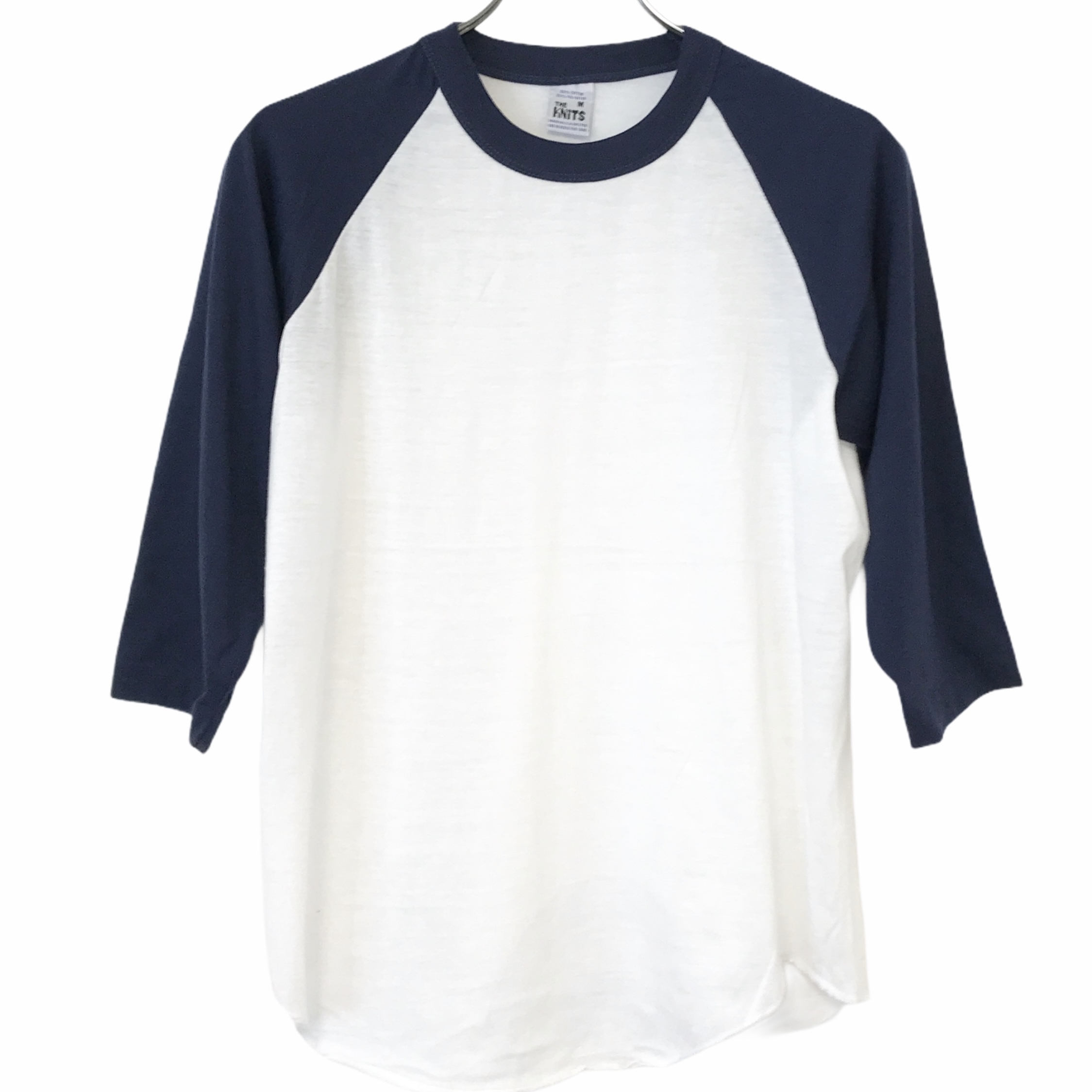 Dead Stock! 80's THE KNITS Raglan T-shirt made in USA size M White/Navy