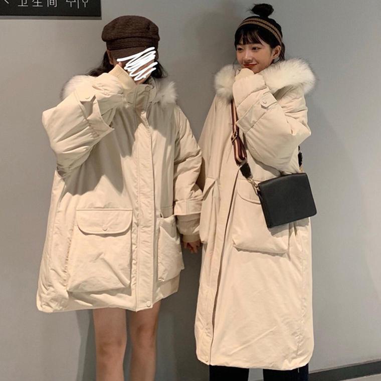 【送料無料】 丈感選べる2タイプ♡ ふわふわ ファー付き フード ダウン ジャケット コート プルオーバー