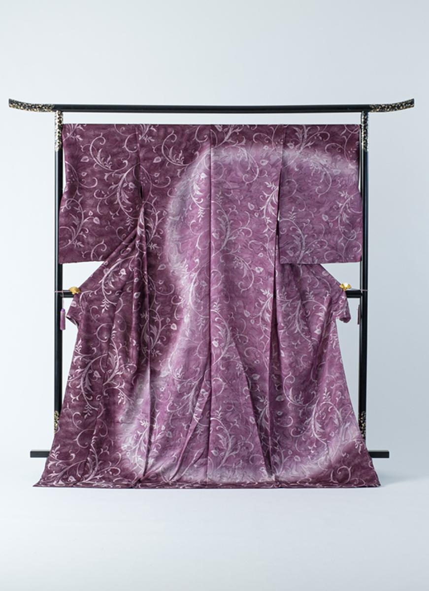 訪問着 紫 蔦 マーブル 墨流し染 友禅染 フォーマル パーティに