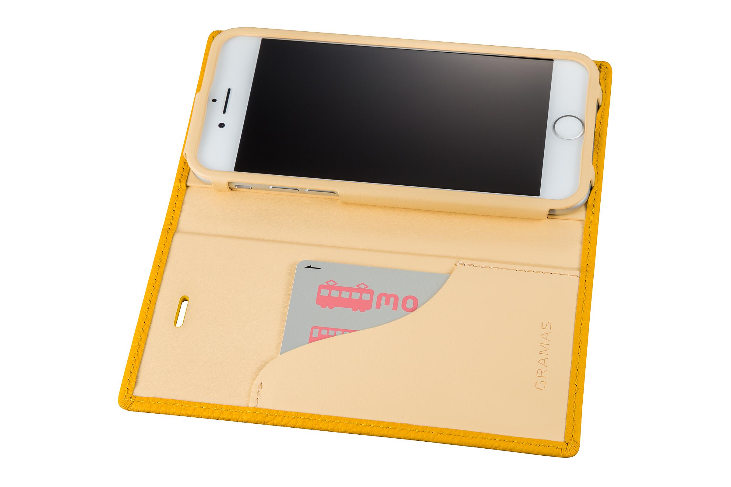 GRAMAS Shrunken-calf Full Leather Case for iPhone 7(Yellow) シュランケンカーフ 手帳型フルレザーケース - 画像4