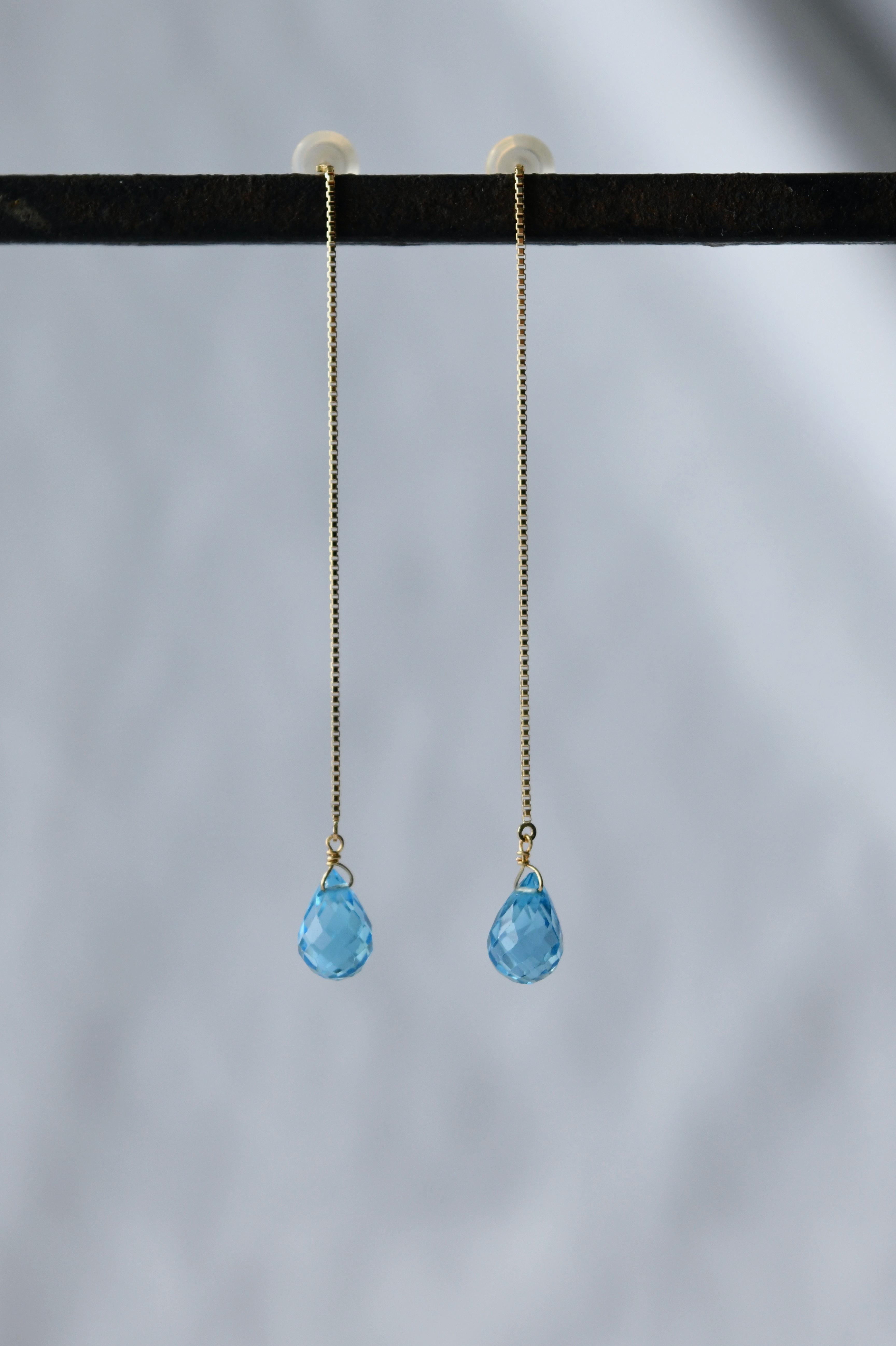 K18 Swiss Blue Topaz Chain Earrings 18金スイスブルートパーズチェーンピアス